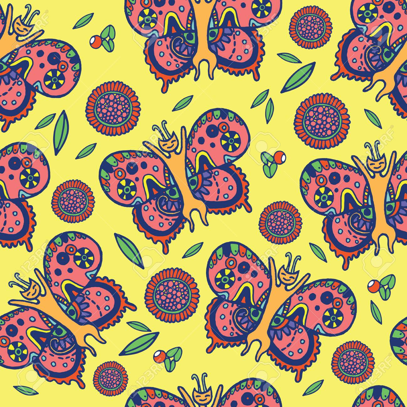 Butterfly Cat Fly In Leaf Flower And Berry On Yellow Background Summer Psychedelic Funny