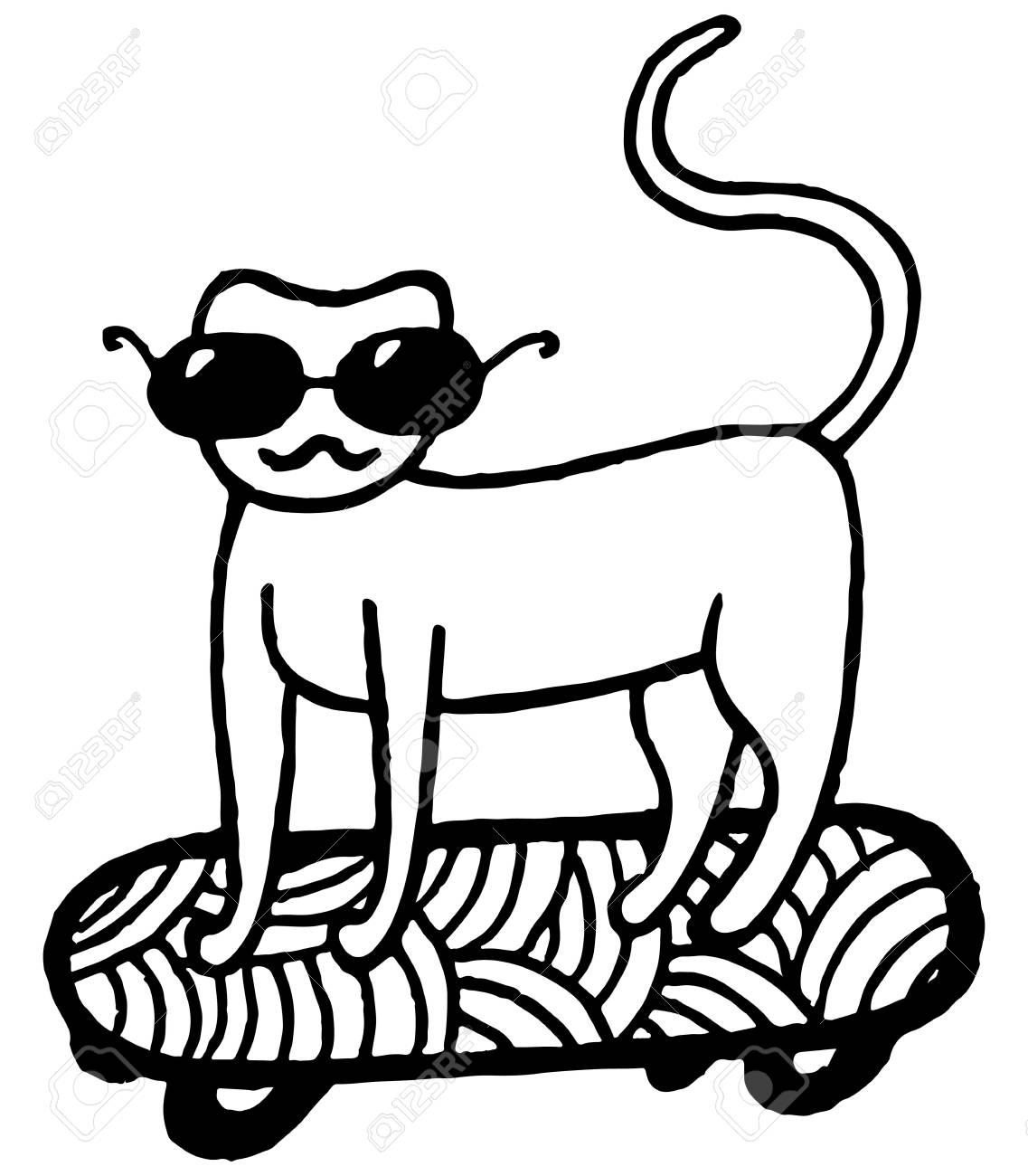 スケート ボードの上の猫のページを着色しますベクトルは手描き下ろし