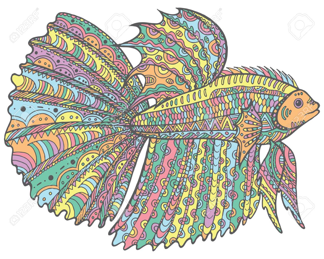 Doodle Betta Fish - Colorful Version Of Coloring Page Royalty Free ...