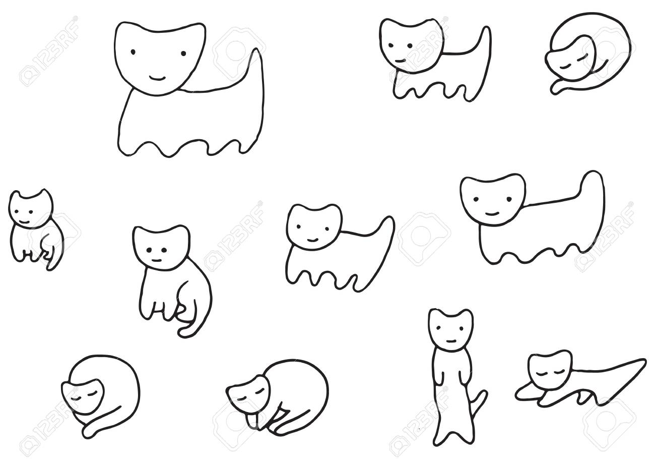 Minimal Funny Kittens Coloring Page Royalty Free Cliparts, Vectors ...