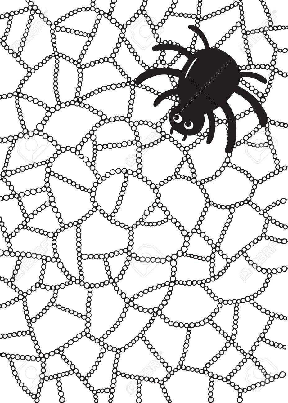 Dibujo Para Colorear Con Araña Y Tela En Gotas De Agua O Gotas De Lluvia