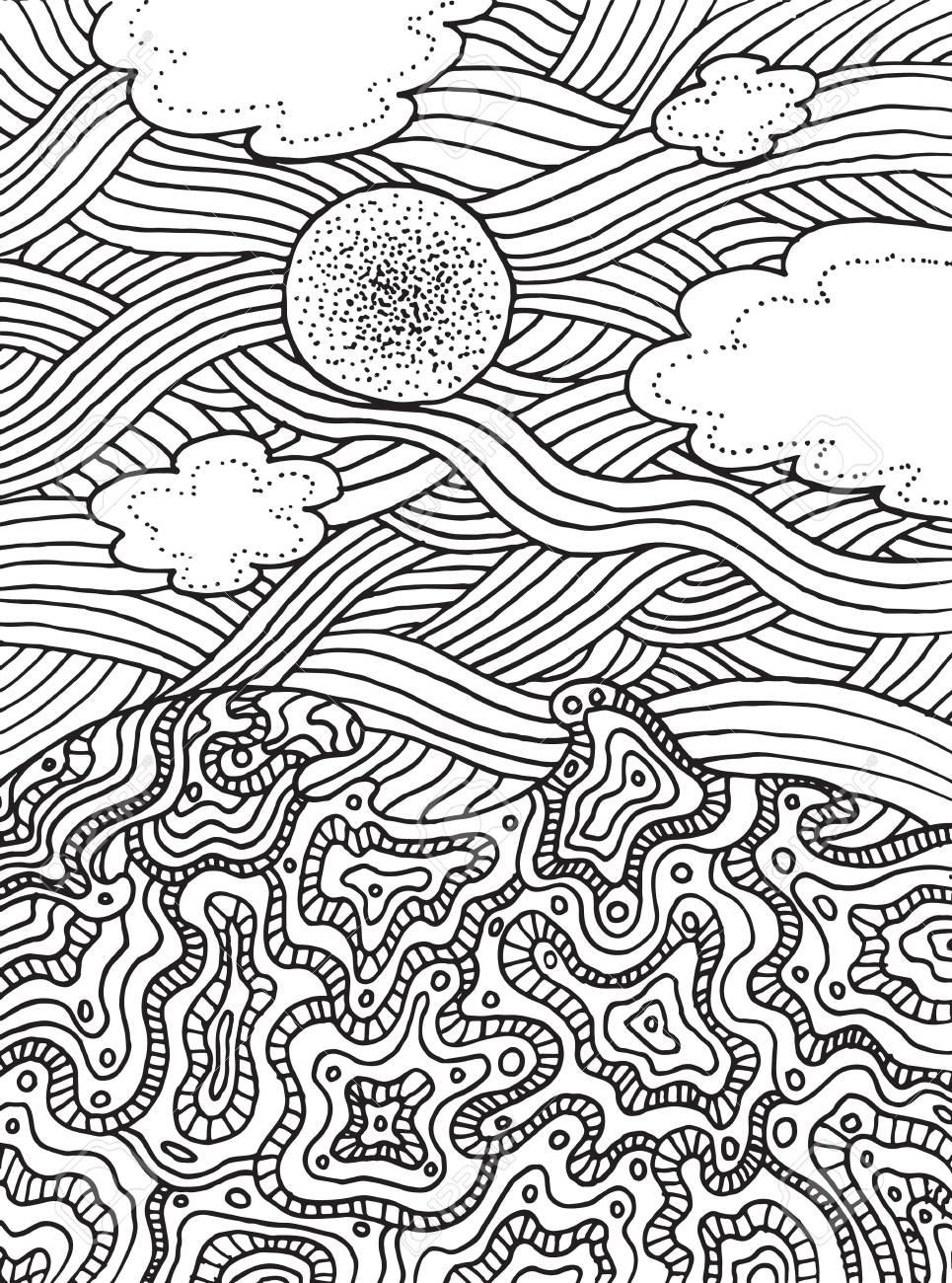 Verano Mar Y Cielo Con Nubes Y Sol. Vector Dibujado A Mano Arte De ...