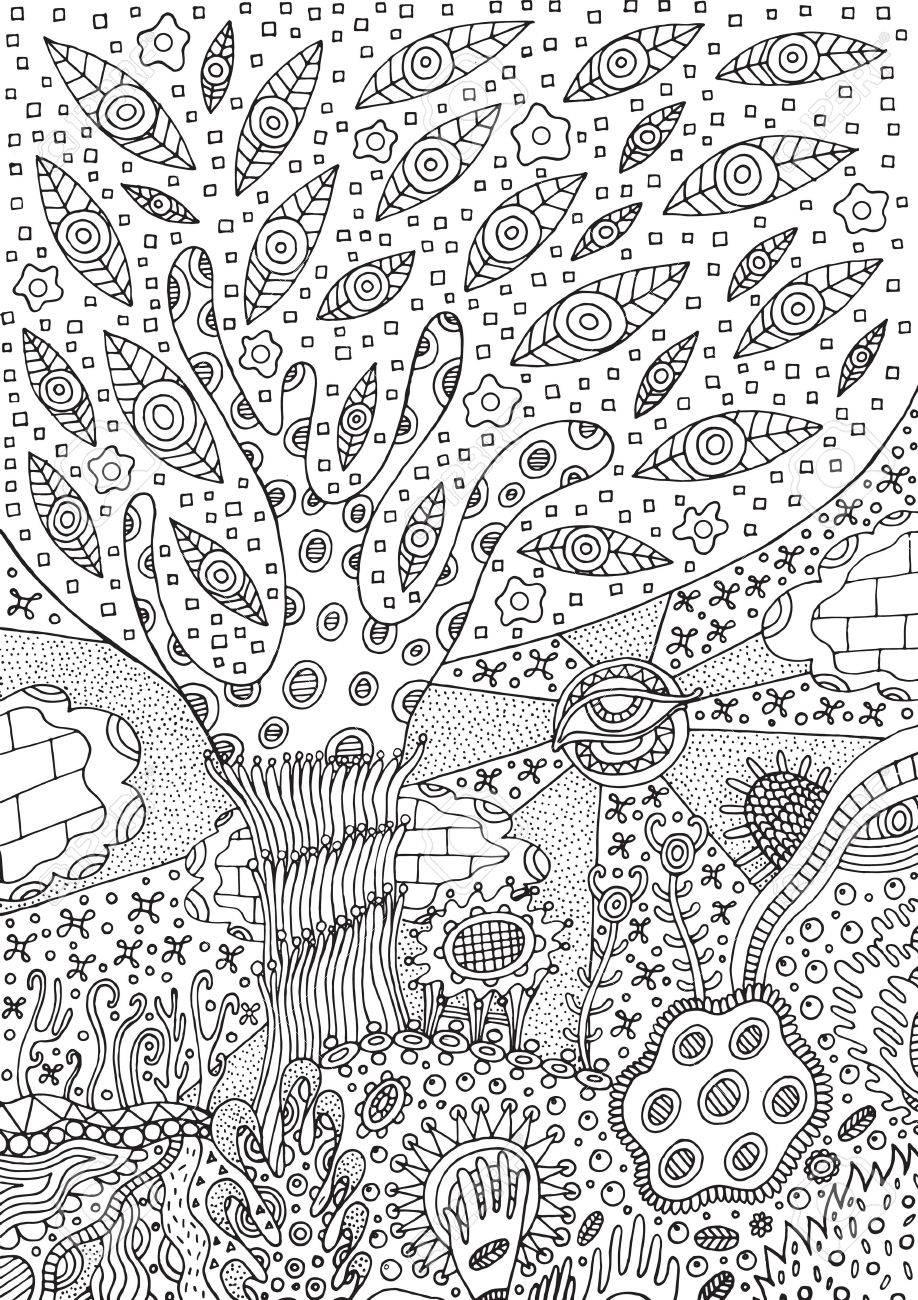 Coloriage Arbre Du Ciel.Coloriage Avec Paysage Surrealiste Arbre Fleur Et Ciel Illustration Vectorielle Zentangle Pour Adultes Ou Enfants Zendoodle Art Vectoriel Dessin