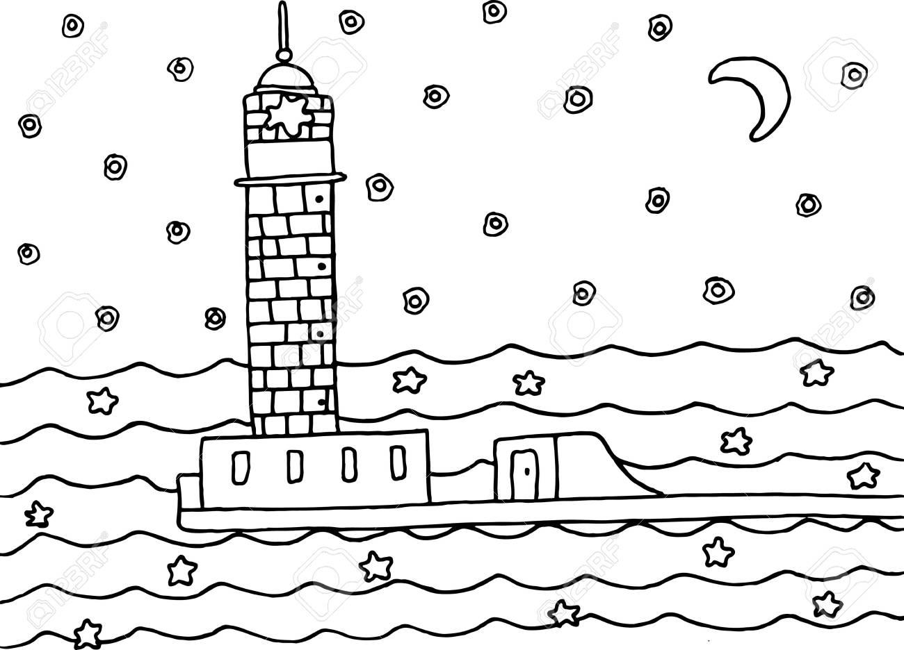Dibujo Para Colorear Con Faro En El Mar De La Noche Ilustración Vectorial Dibujado A Mano En Blanco Y Negro Para El Libro De Adultos O Niños Diseño