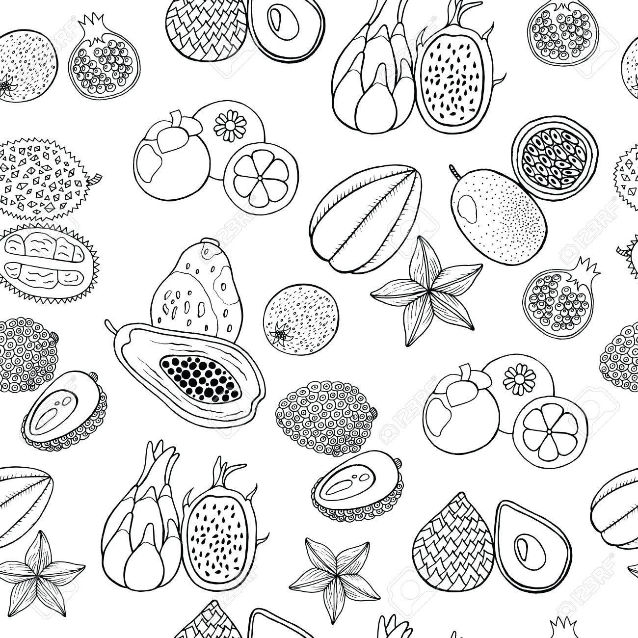 Patrón Dibujado A Mano Sin Fisuras Con Frutas Exóticas Tropicales ...