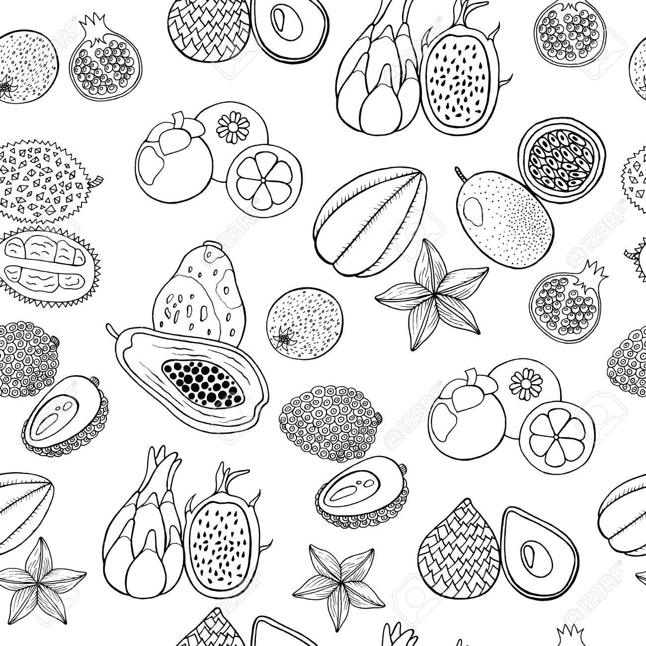 Tropical Fruit Coloring Pages