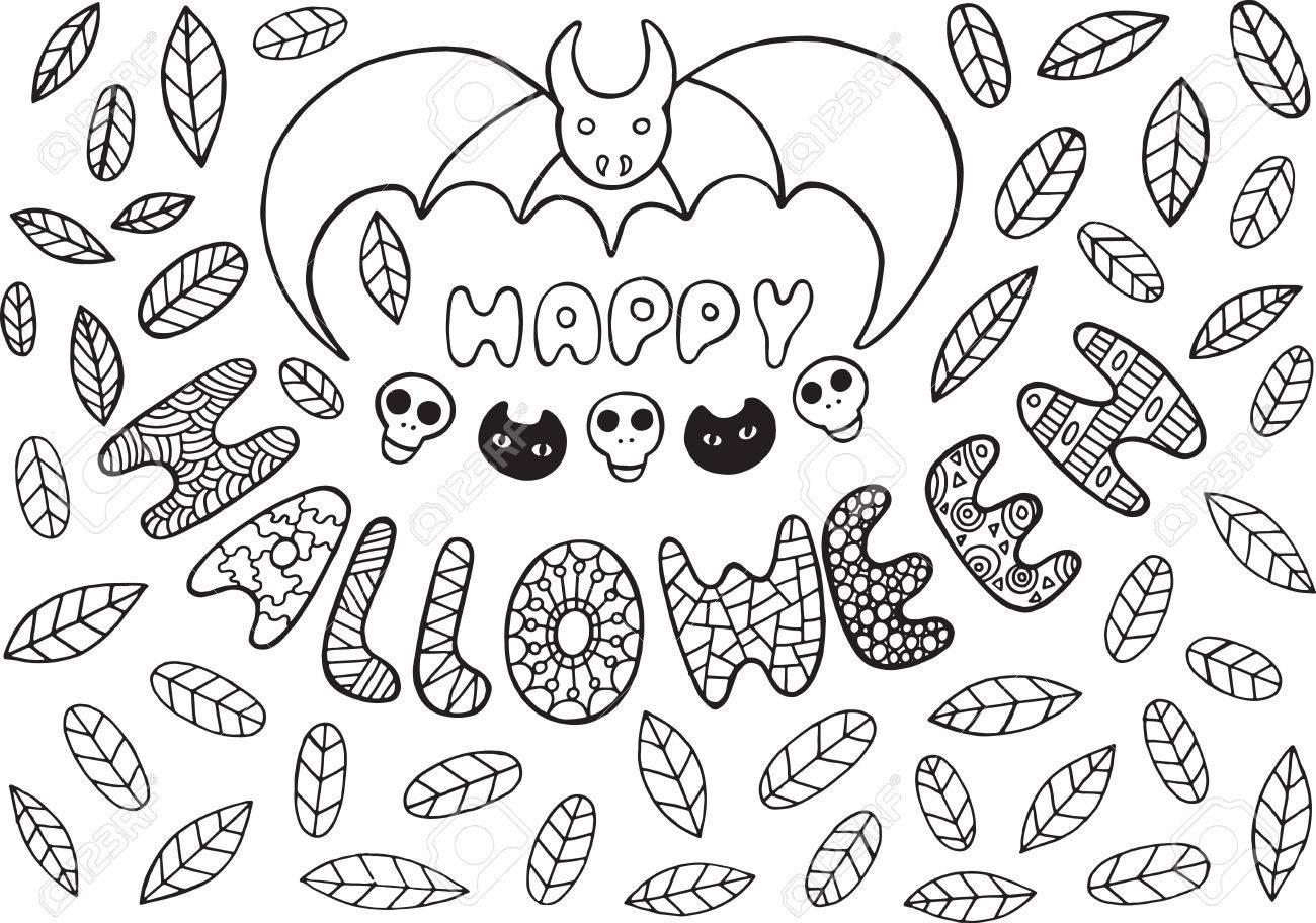 Tarjeta De Felicitación Para Halloween Con Murciélagos, Calaveras