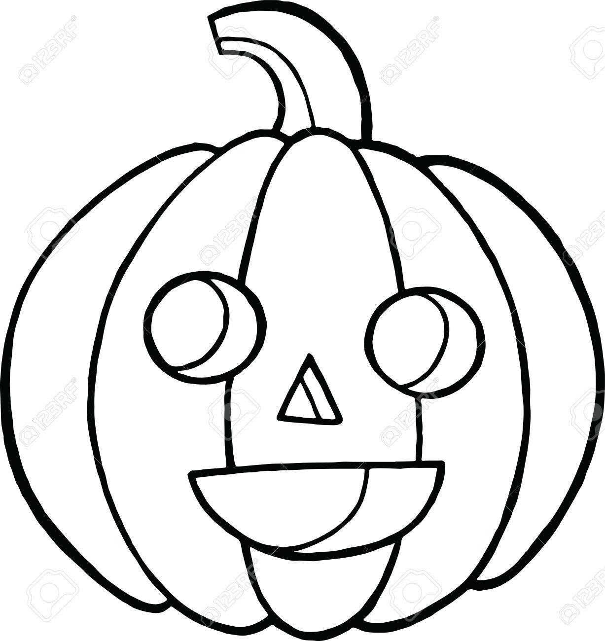 Malvorlagen Und Doodle Skizze Mit Kürbis Für Halloween. Herbst ...