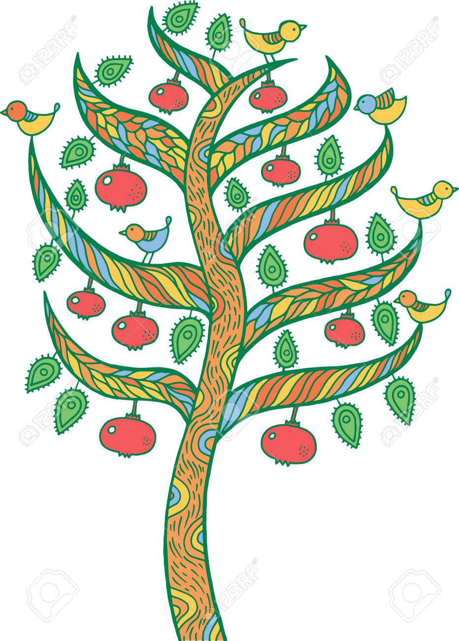 Pomegranate Tree - Kids Illustration. Colorful Doodle Art Drawing ...
