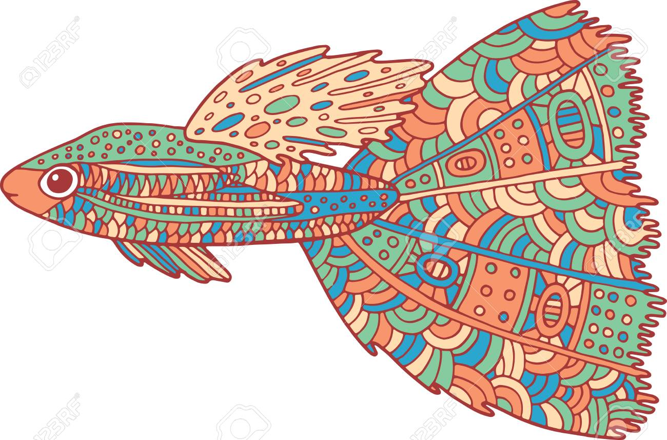 doodle colorful fish zen art coloring page for adults
