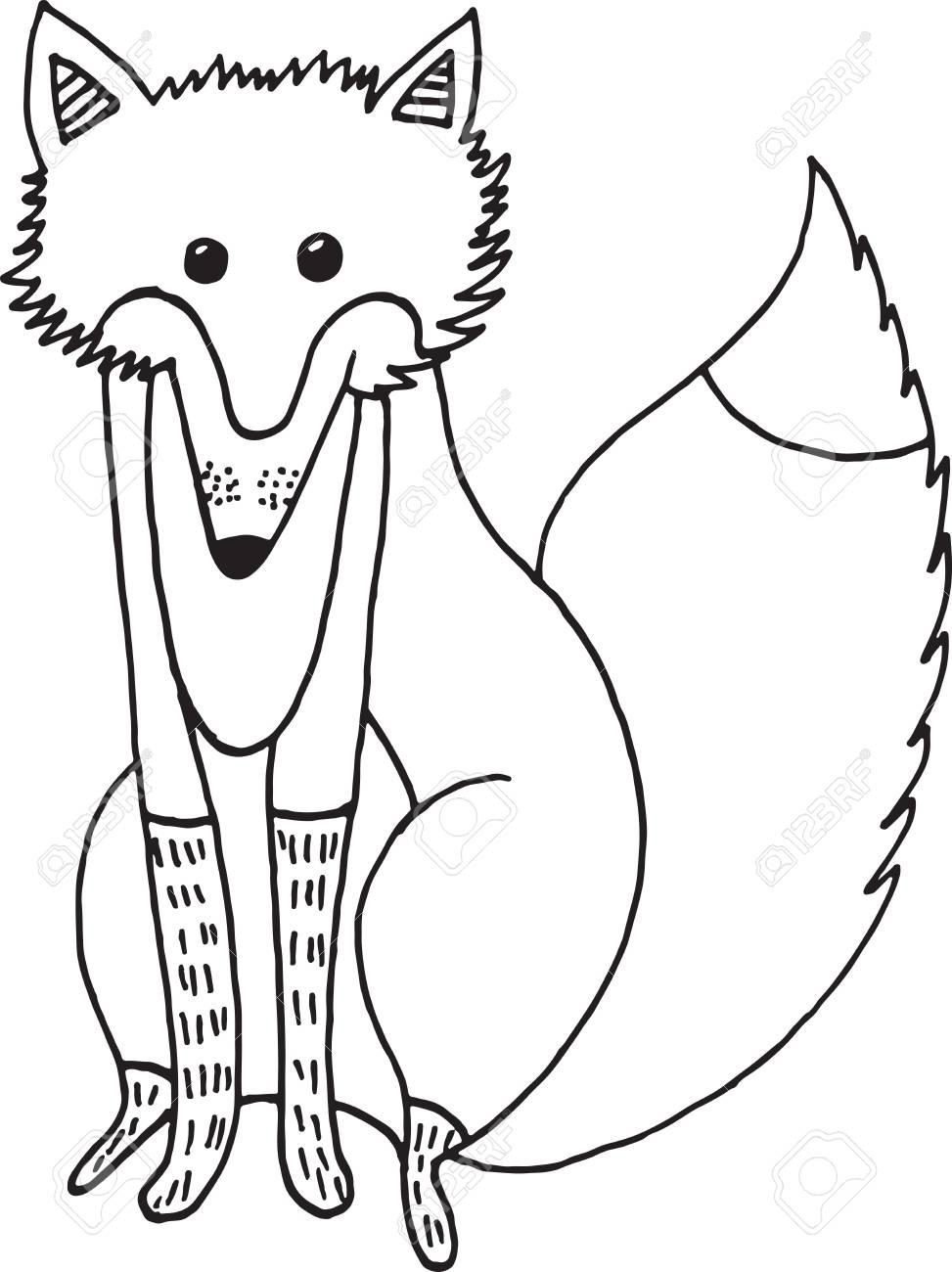 Bosque Zorro Bosque De Dibujos Animados Doodle Ilustración Colorear Dibujo De Dibujo Para Colorear