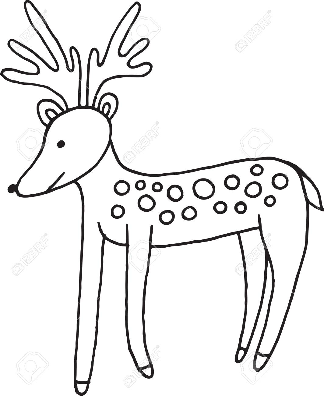 Forest Animal Deer Doodle Cartoon Simple Illustration. Kids Drawing Style Coloring  Page. Stock Vector