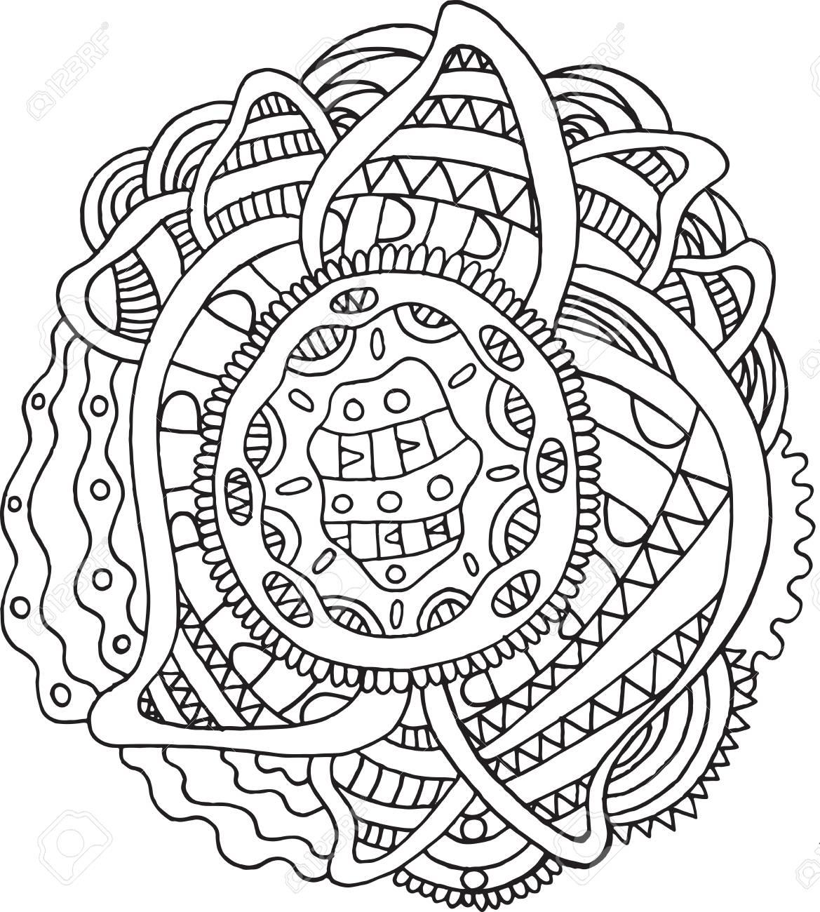Doodle Mandala - Malvorlagen Für Erwachsene. Meditative Boho-Cartoon ...