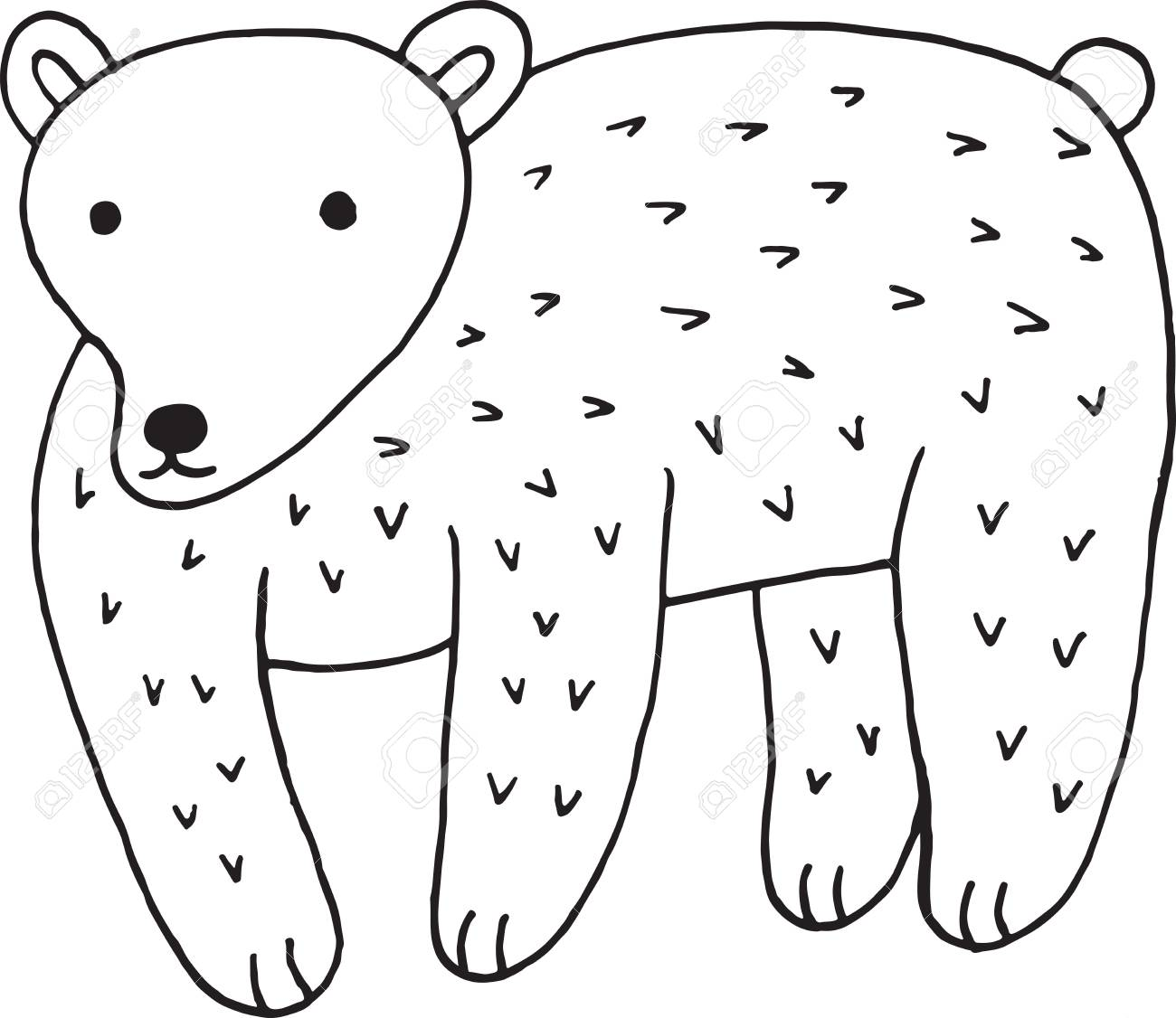 Coloriage Animaux Simple.Ours Animal Foret Doodle Ours Dessin A La Main Simple Style Coloriage Dessin A La Main Coloriage