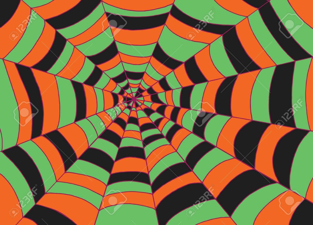 Fondo de la tela de araña, arte del vector del bosquejo del Doodle. Dibujos animados coloridos textura naranja para halloween.