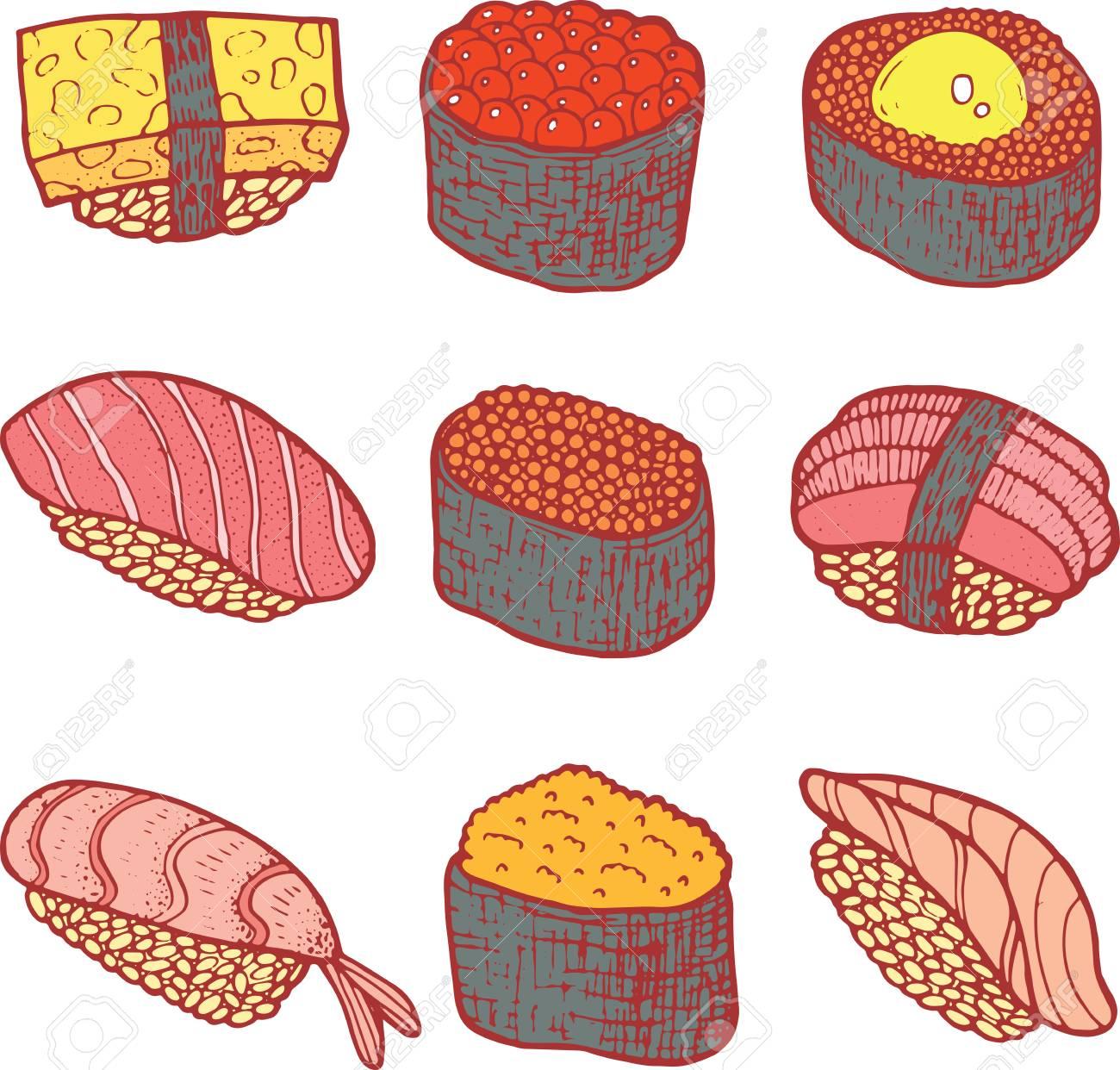 Colección De Sushi Set. Color Para Colorear Página Para Adultos ...