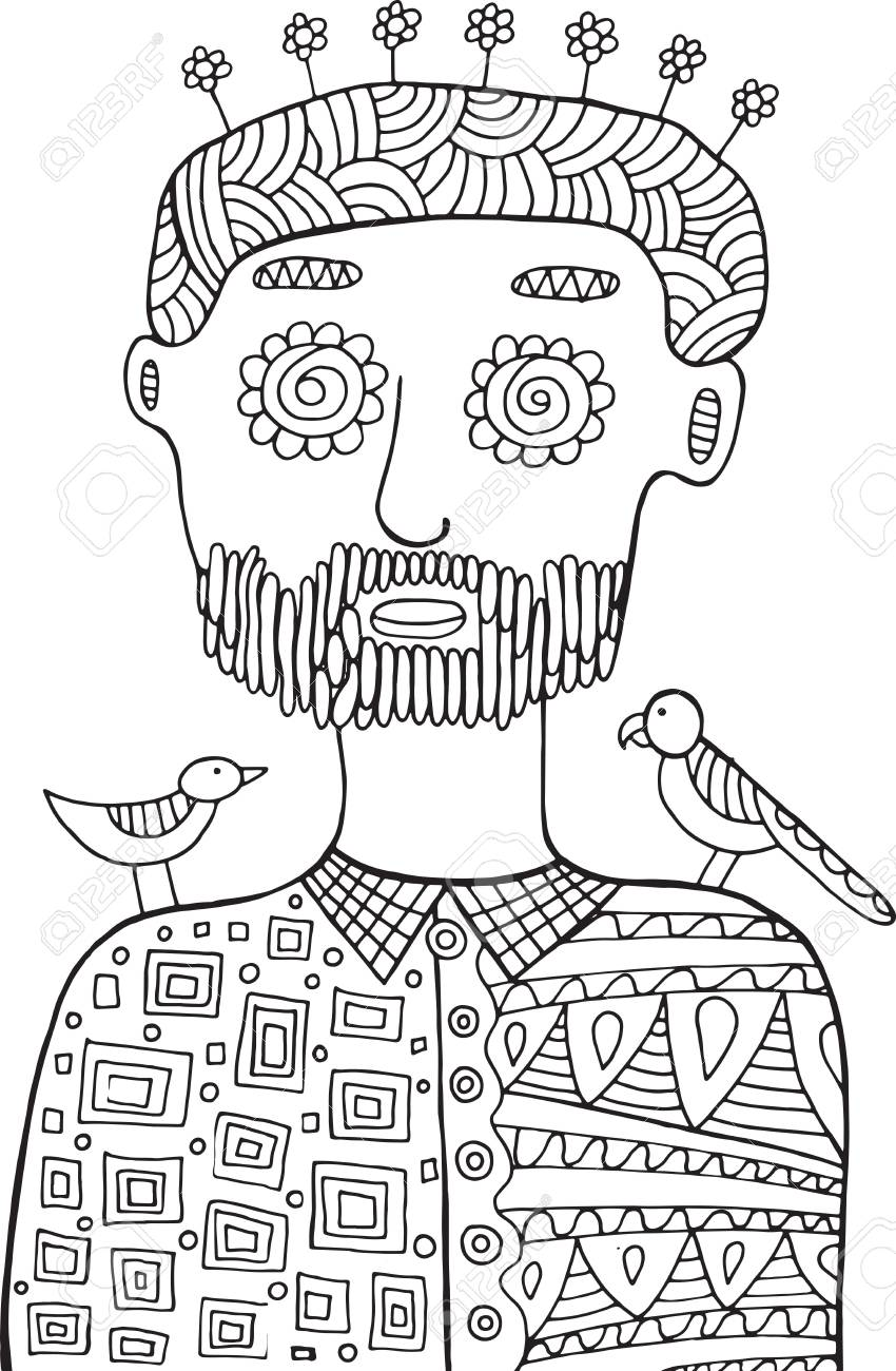 hipster man with birds and flowers on his head coloring page for adults