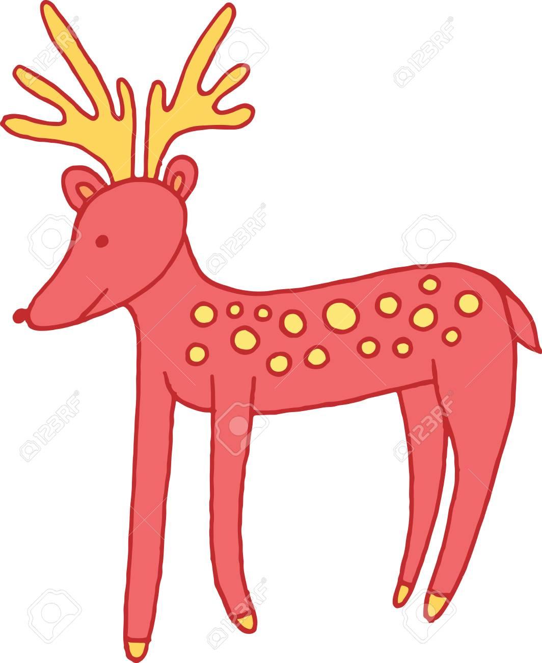 森林動物の鹿落書き漫画のシンプルなイラスト。 ロイヤリティフリー