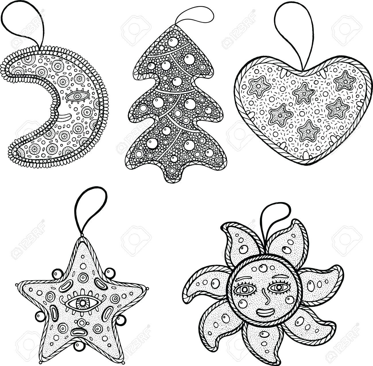 Satz Weihnachtsdekoration Für Weihnachtsbaum - Stern, Mond, Sonne ...