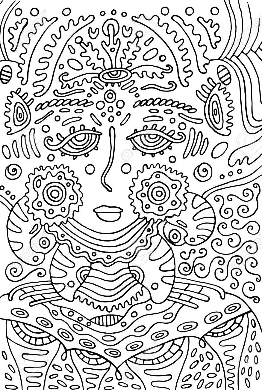Alien Diosa Chica. Doodle Página Para Colorear Para Adultos ...