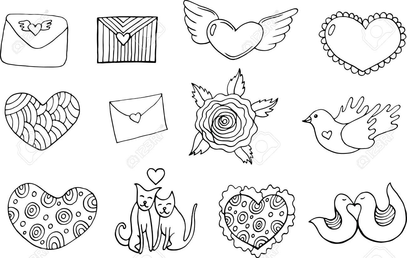 Sticker set for valentines day coloring page doodle cartoon isolated set with hearts