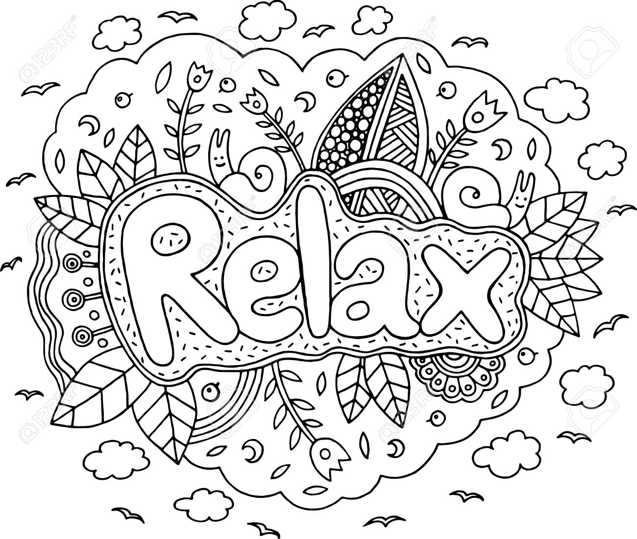 Coloring Page For Adults With Mandala And Relax Word. Doodle ...
