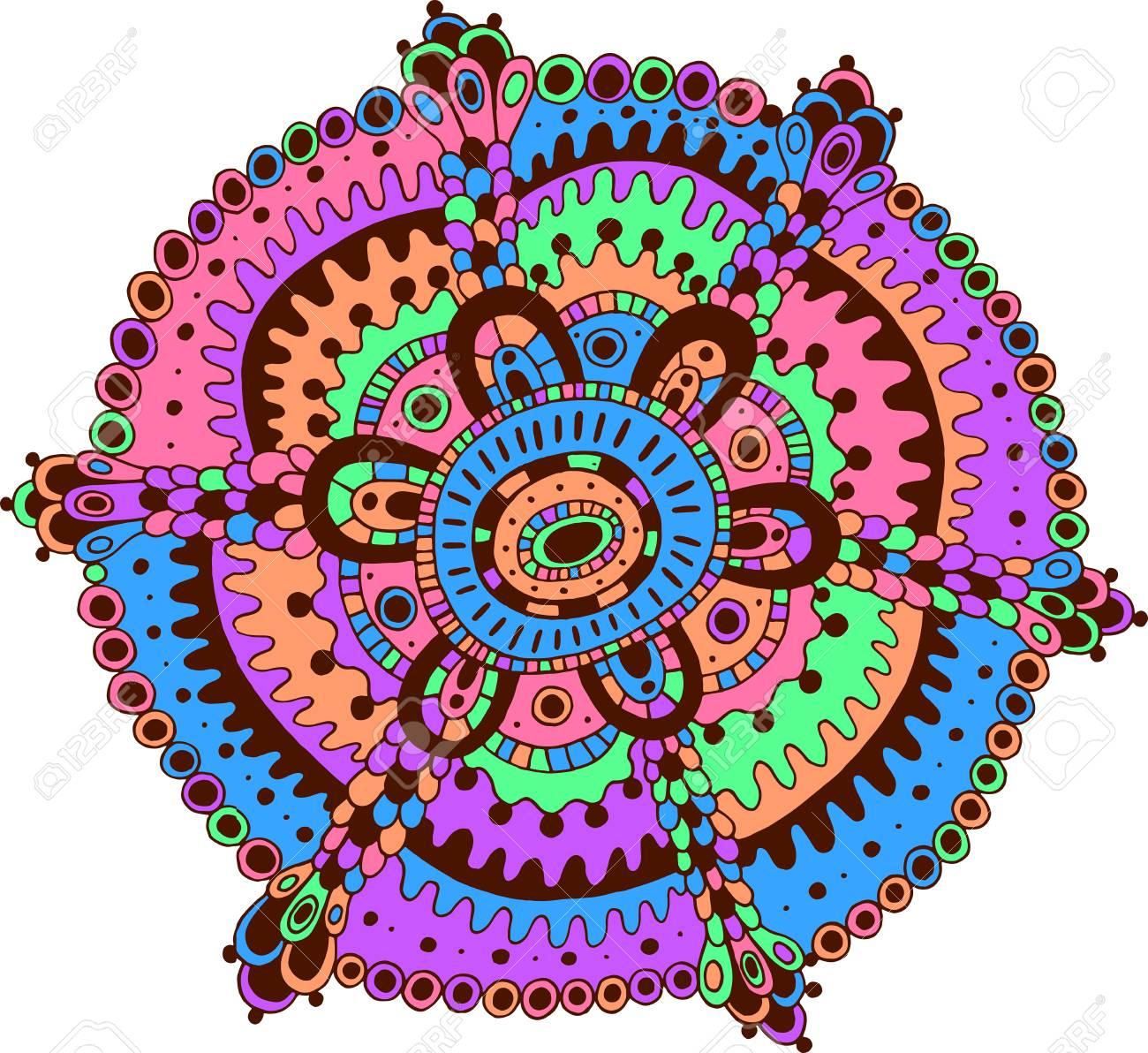 Doodle Mandala Art Cartoon Relax And Meditative Psychedelic