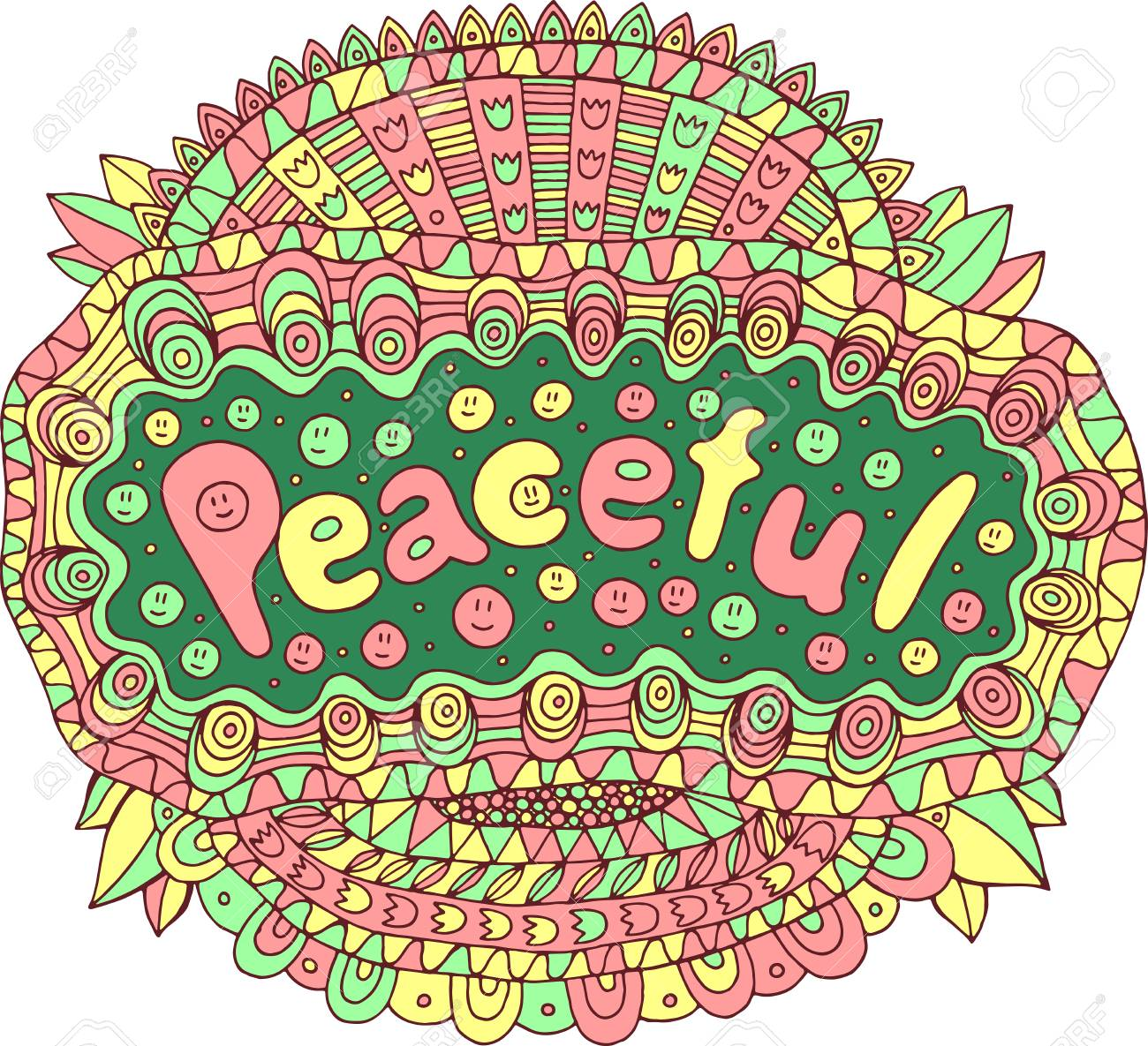 Cartoon Art With Mandala And Peaceful Word Doodle Lettering