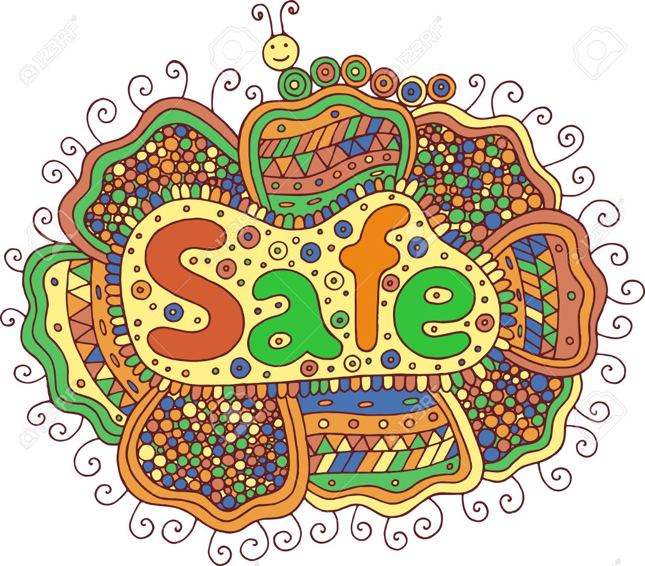 Graphic Art With Mandala And Safe Word Doodle Lettering Colorful
