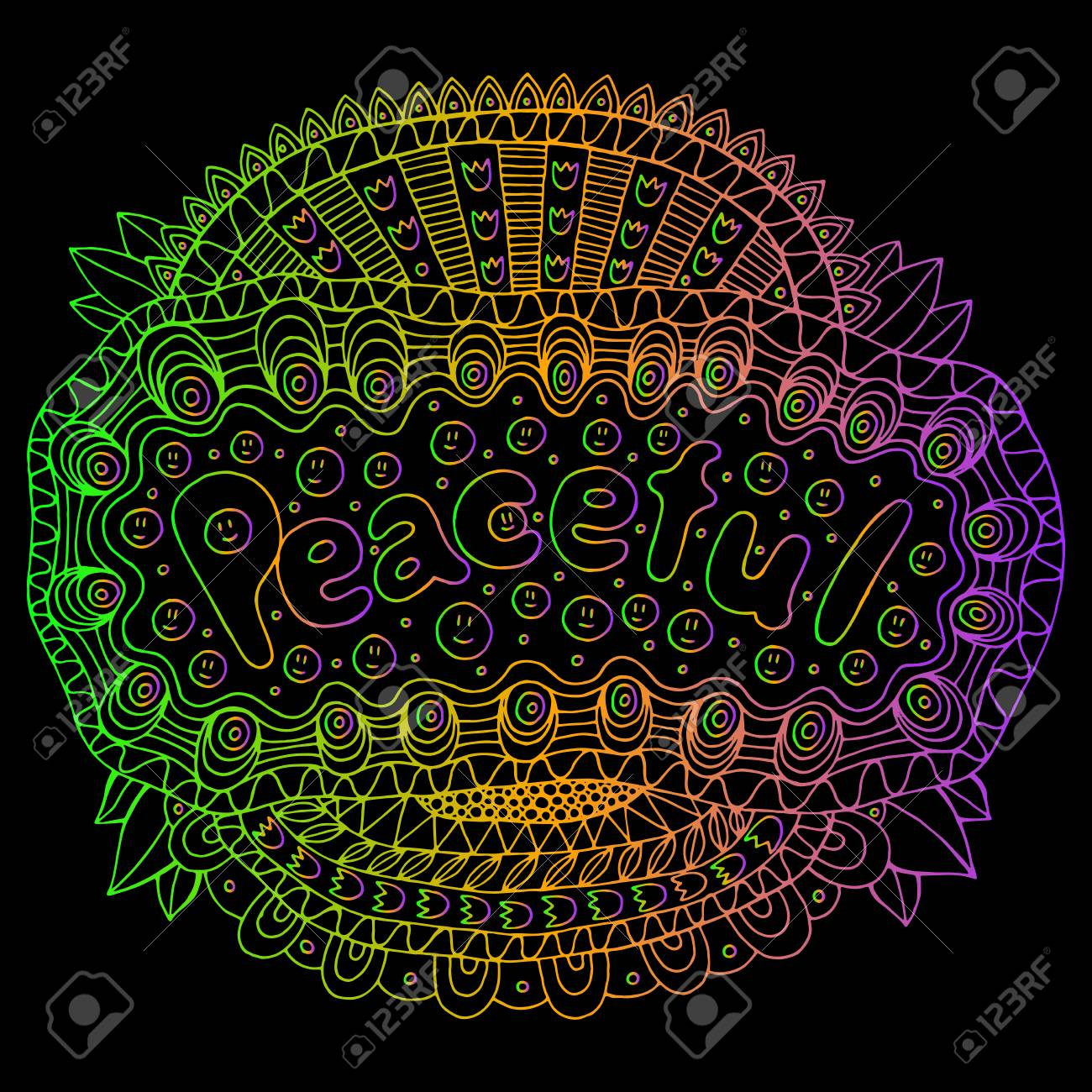 Cartoon Art With Mandala And Peaceful Gradient Word Doodle Lettering