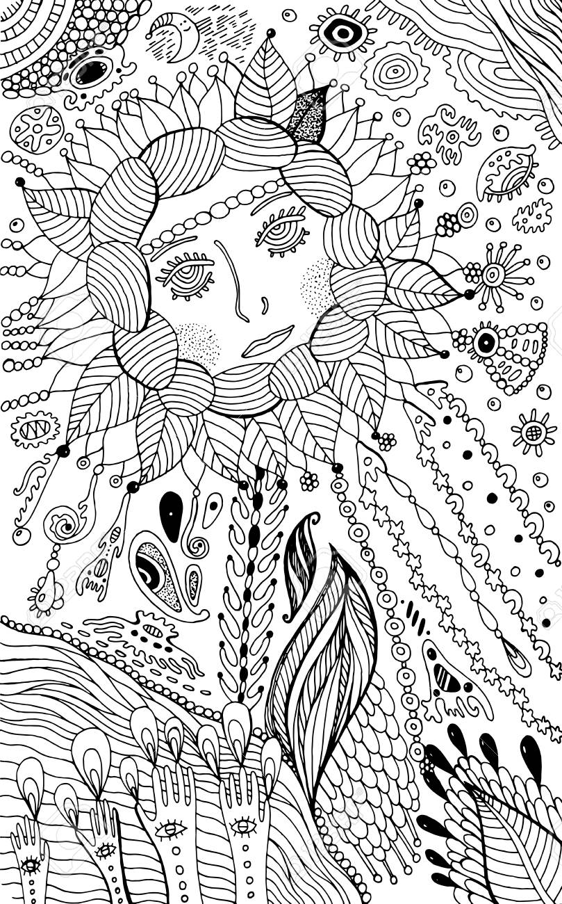 Flower Woman Coloring Page For Adults Surreal Fantasy Doodle Artwork Vector Illustration