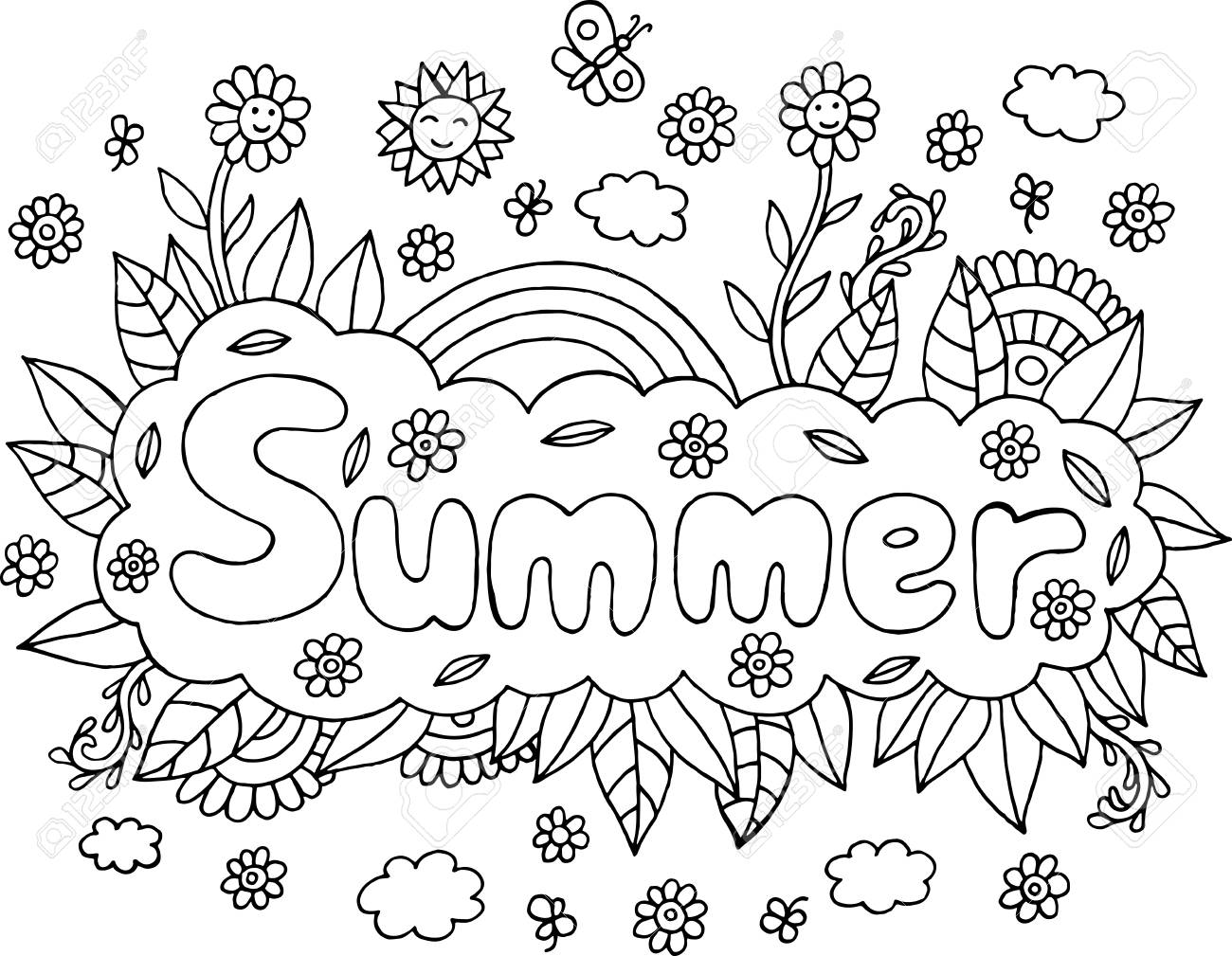 Coloring page for adults with mandala and Summer word. Doodle..
