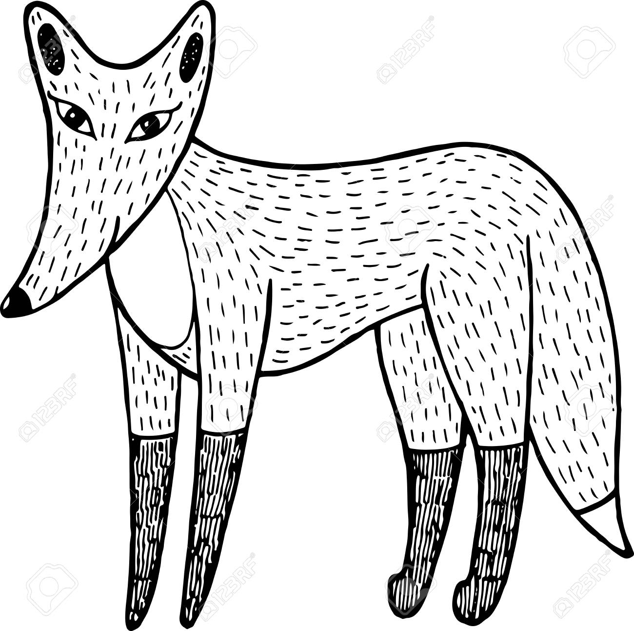 Fox - ink graphic artwork for adult and children coloring books. Vector  illustration.