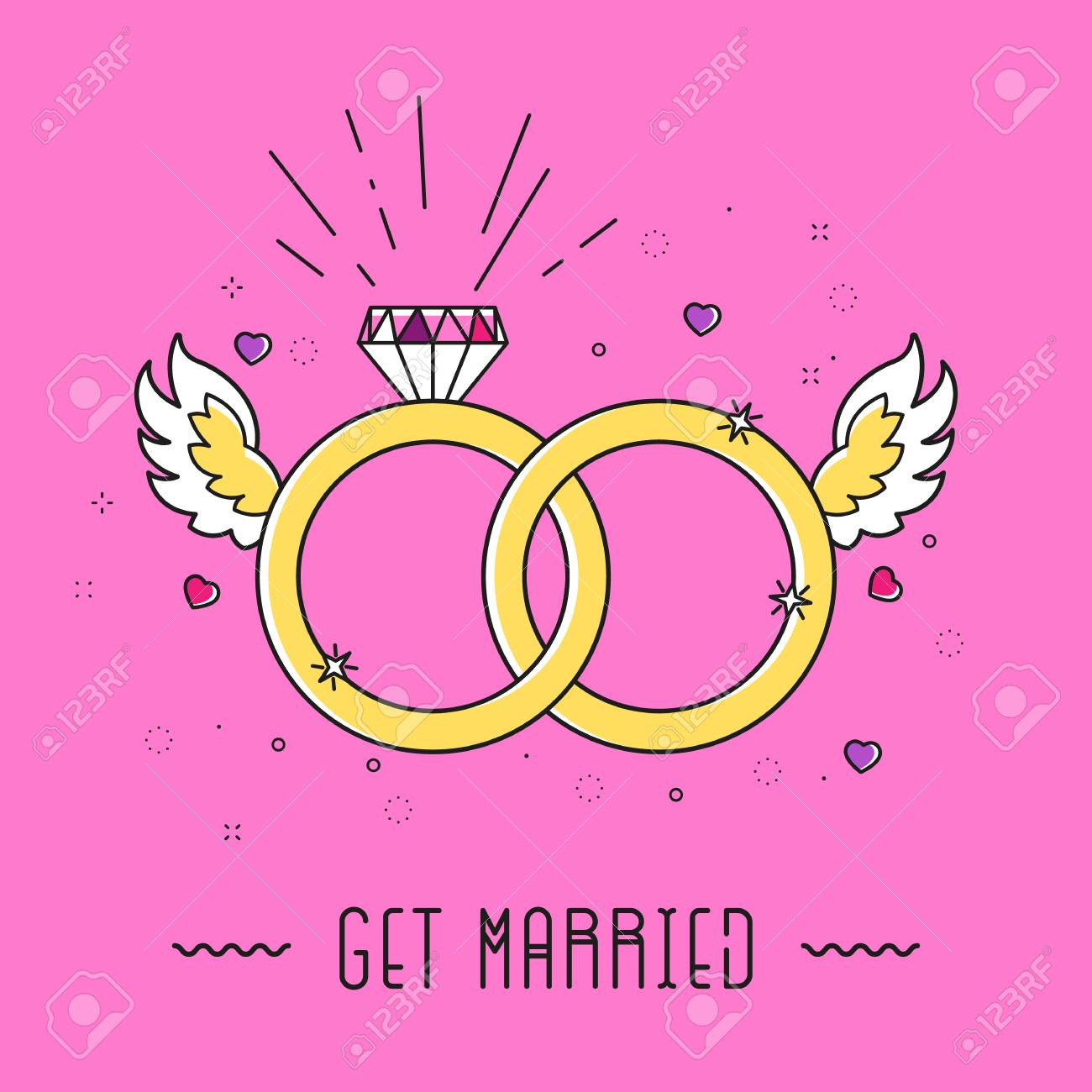 Cartoon Marriage Card With Diamond, Rings, Wings, Heart And Text ...