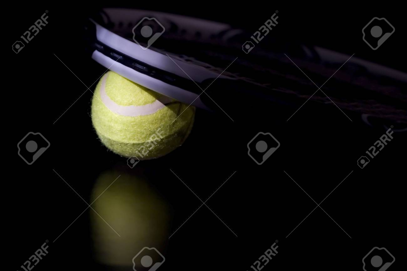 Tennis ball with racket Stock Photo - 2433420