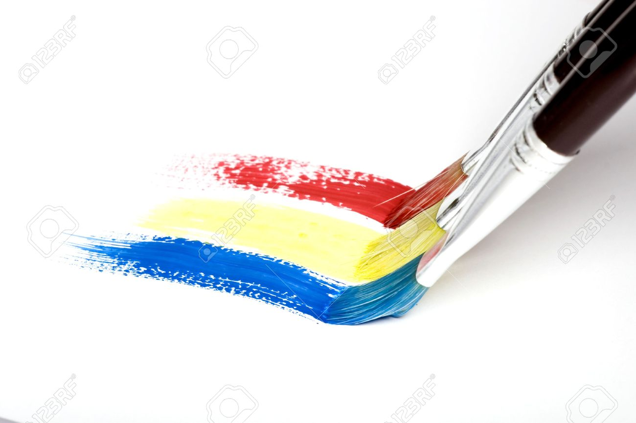 pincel pintando. paintbrush painting a rainbow stripe stock photo - 7902332 pincel pintando p