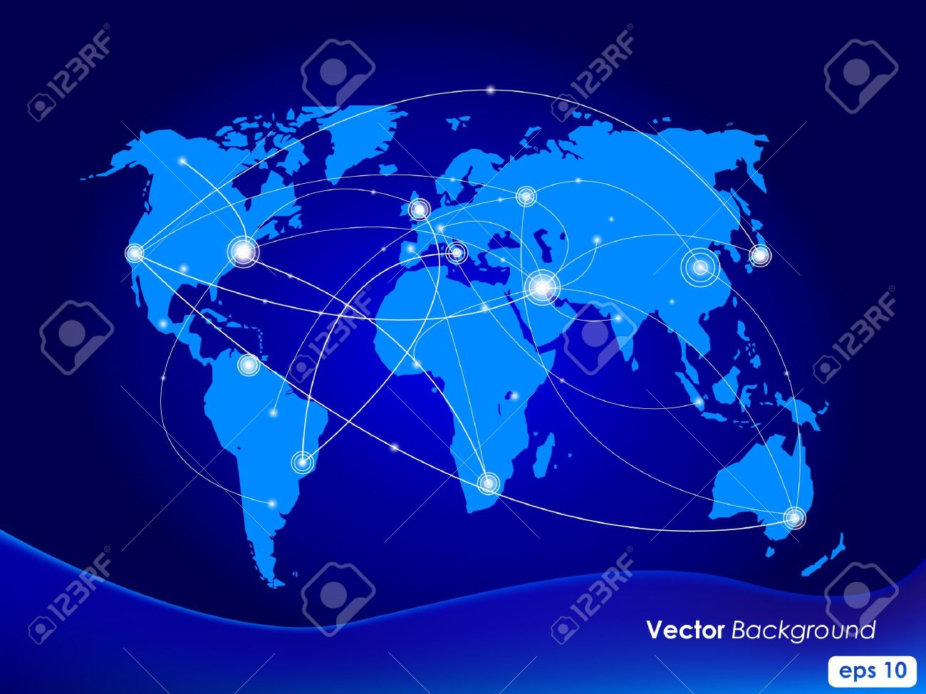 Vector illustration world map. Concept communication. Stock Vector - 9354716