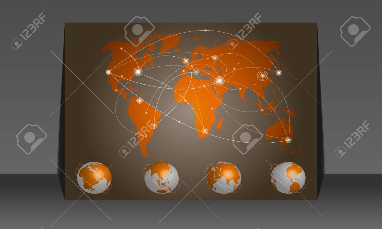 Vector illustration world map. Concept communication Stock Vector - 10667574
