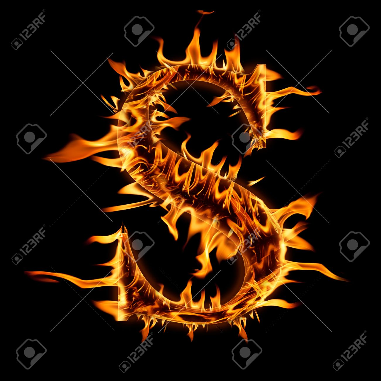 Beau Fire Flaming Letter S Background Stock Photo   18108108