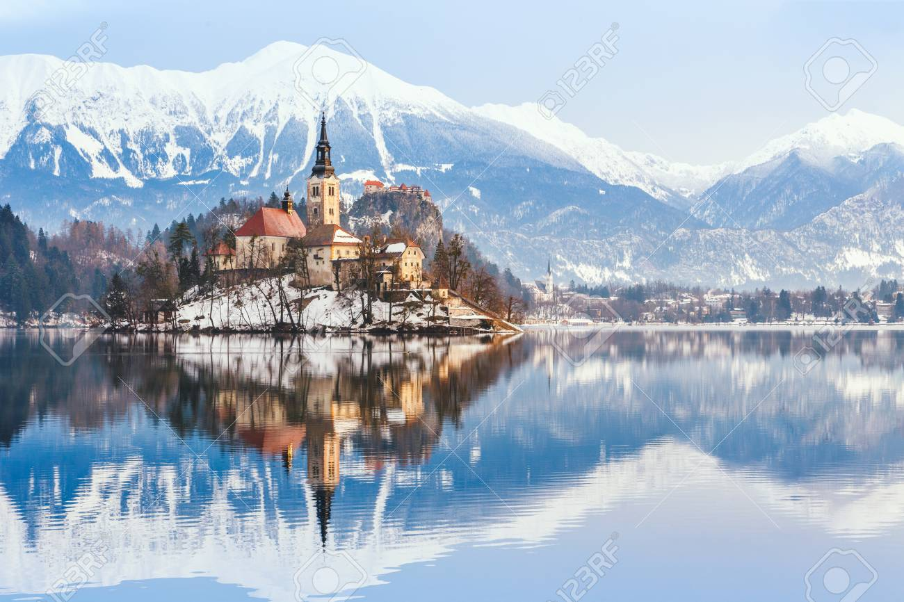 Lake Bled With St Marys Church Of The Assumption On The Small