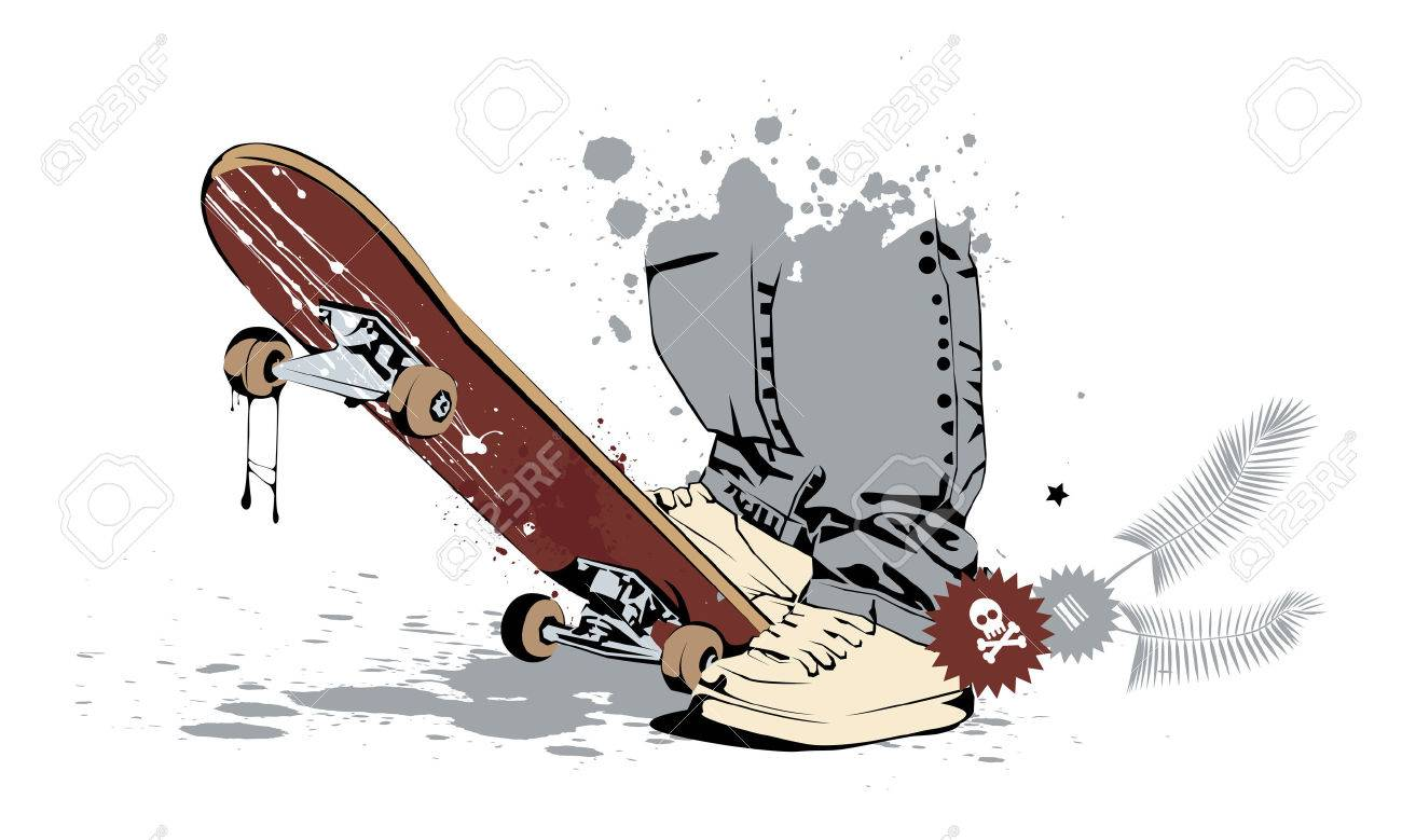 skateboard with his feet in sneakers and jeans Stock Vector - 6989900