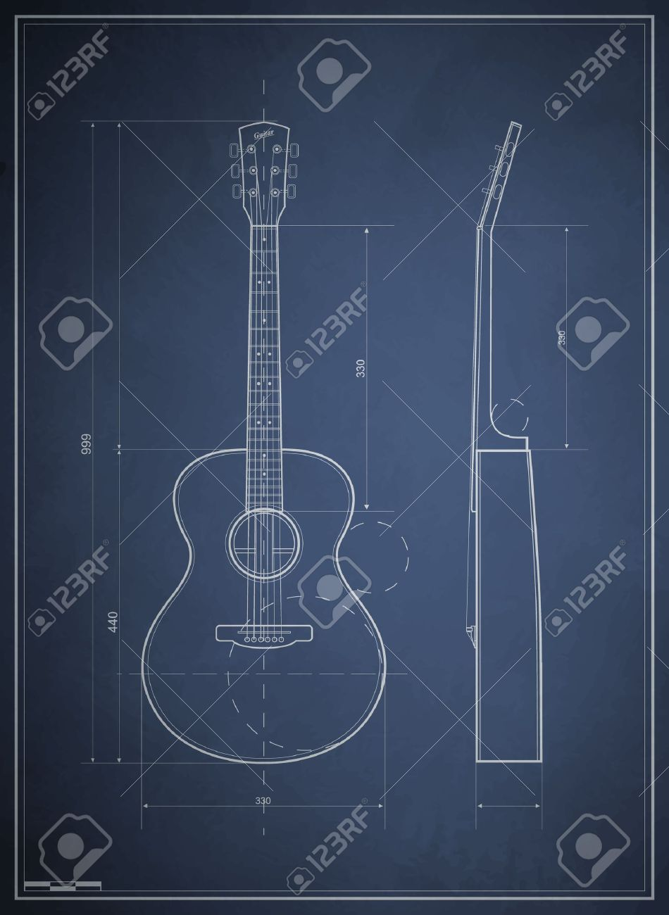 blueprint drawing six-acoustic guitar Stock Vector - 10774489