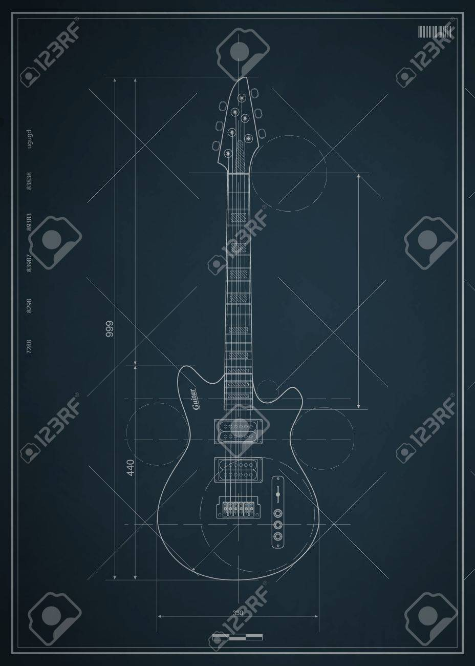 Blueprint Electric Guitar With The Dimensions On Paper Royalty Free ...