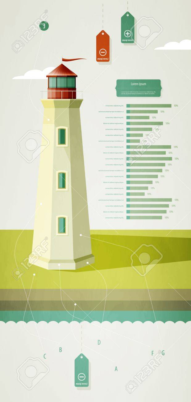 infographics elements with a lighthouse on the landscape Stock Vector - 10894443
