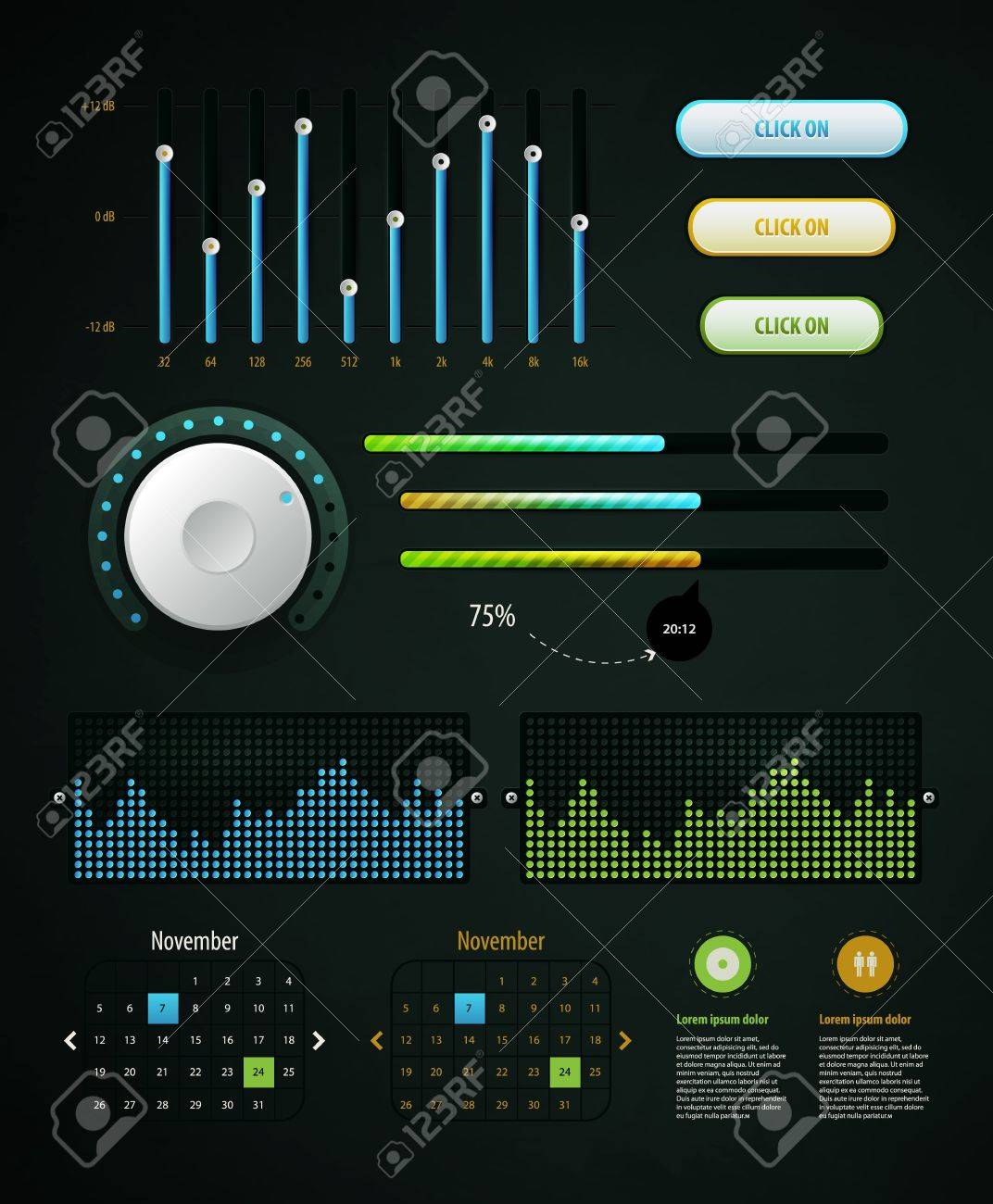 Elements of Infographics with buttons and menus Stock Vector - 11837032