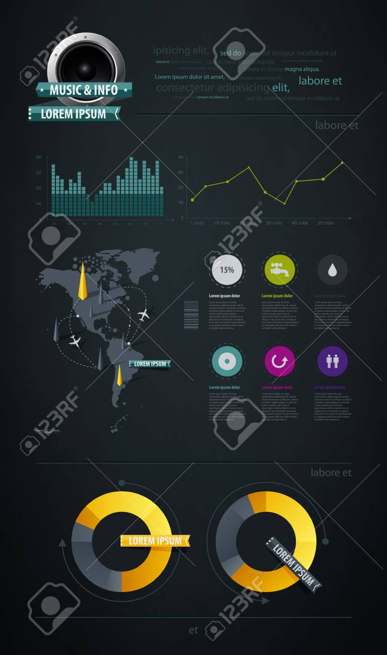 Elements of Infographics with buttons and menus Stock Vector - 11837038