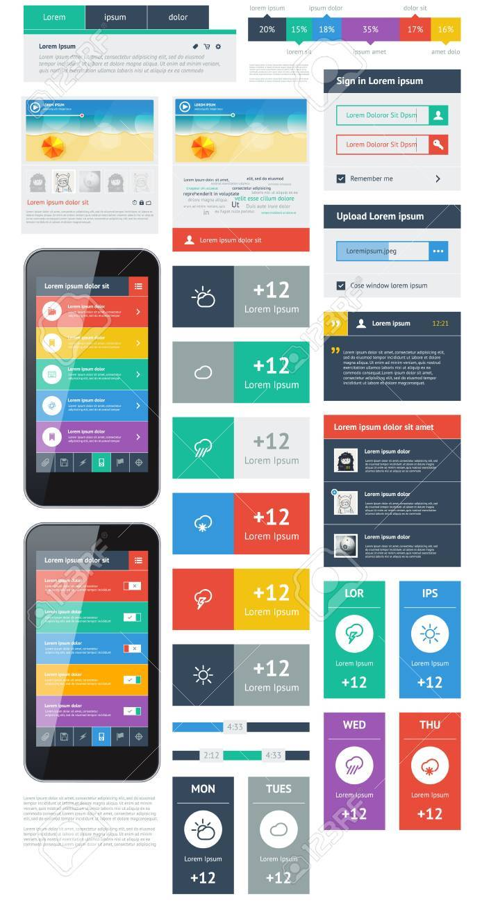 UI is a set of beautiful components featuring the flat design trend Stock Vector - 18756918