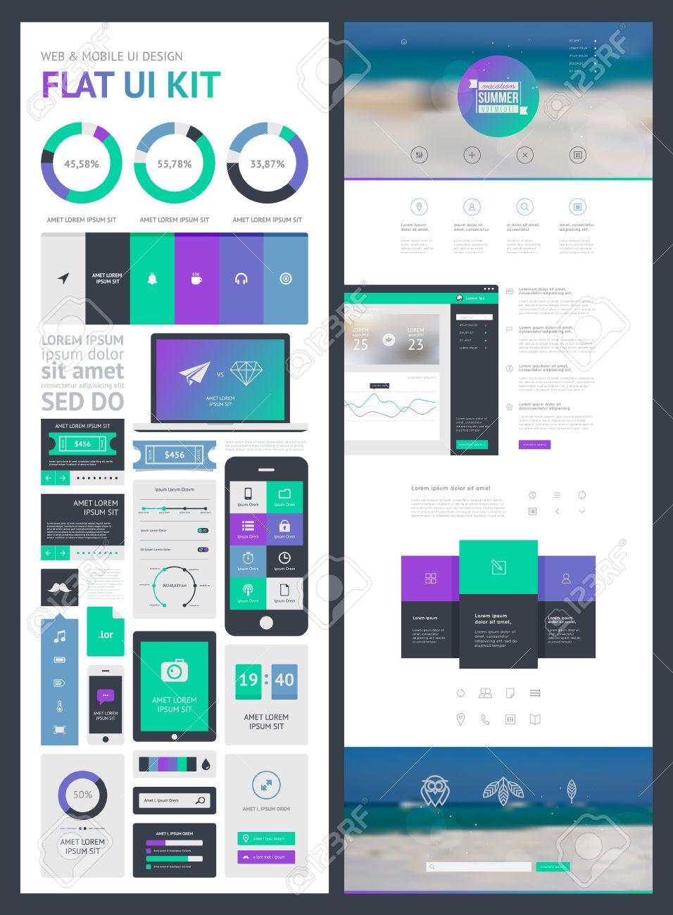 flat ui kit for web and mobile ui design page website design