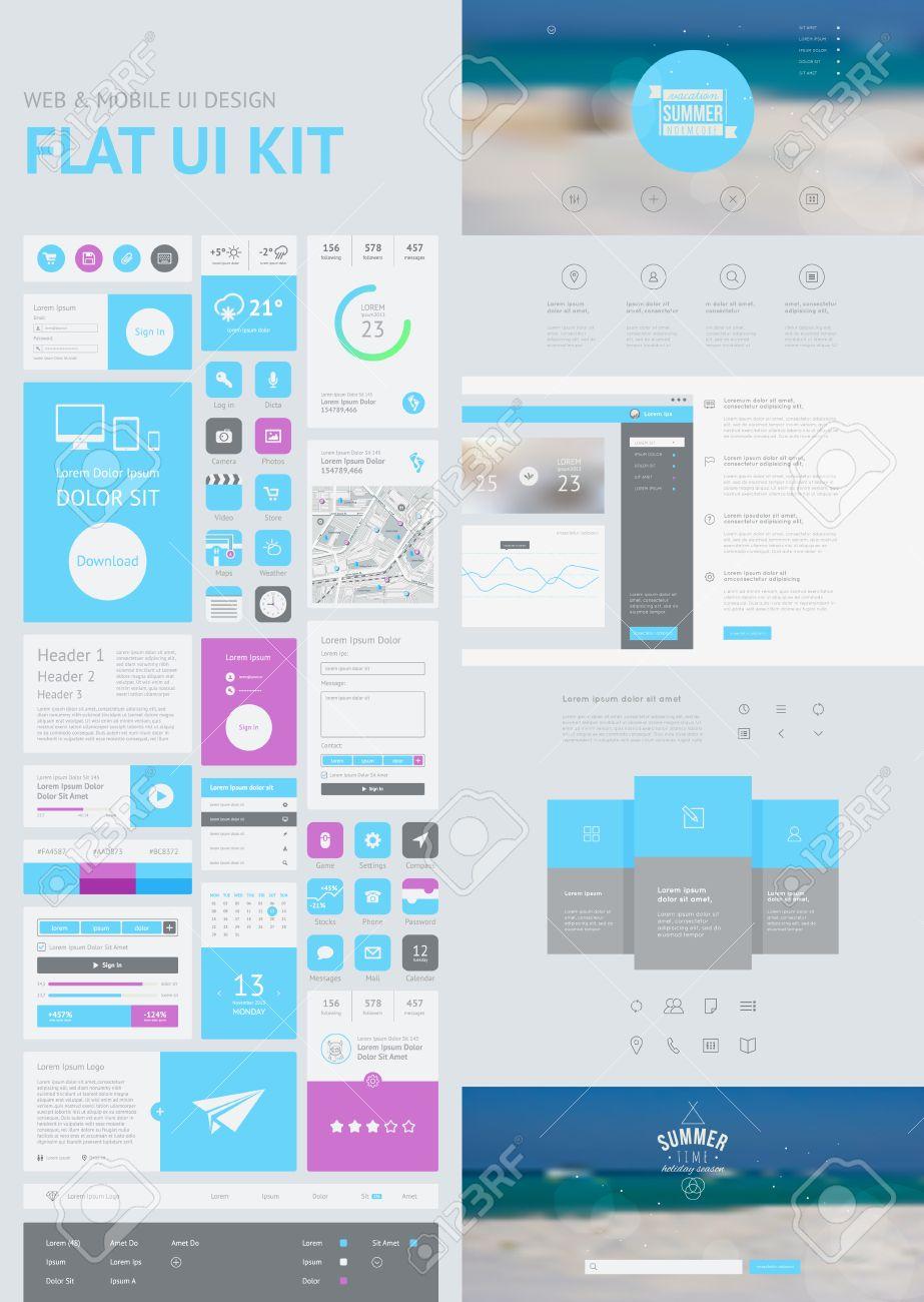 Flach UI-Kit Für Web-und Mobile, UI-Design, Website-Design-Vorlage ...
