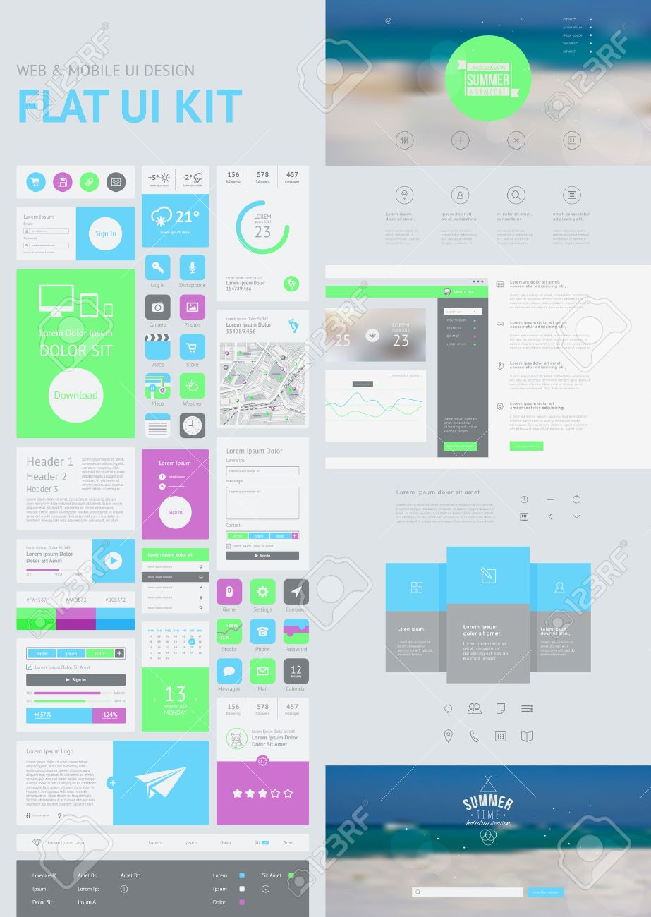 flat ui kit for web and mobile ui design page website design